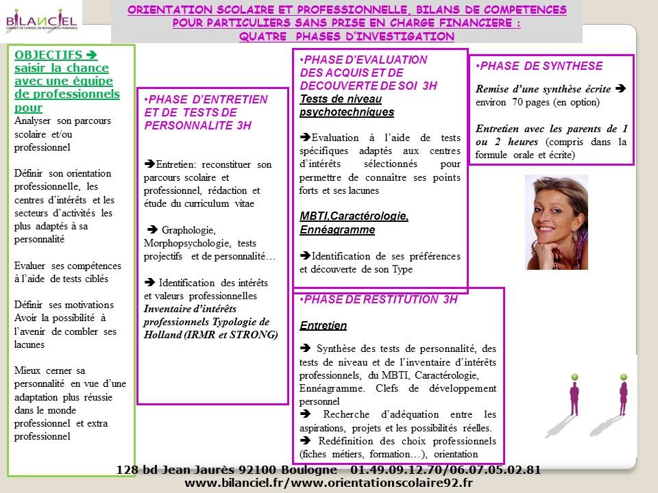 orientation scolaire et bilan de competences pour les particuliers - 2016